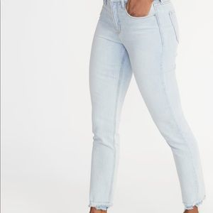 Old Navy High-Waisted Power Straight Raw Edge Jean